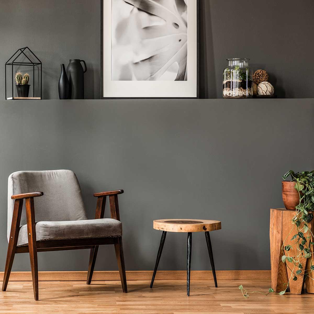 Gelakte houten vloer met interieur